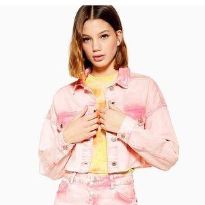 Topshop Pink Acid Washed Crop Denim Jacket